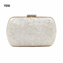 Women Acrylic Clutch New Brand Fashion Mini Handbag Luxury Evening Bag Solid Pearl White Marble Bride Wedding Casual Wallet