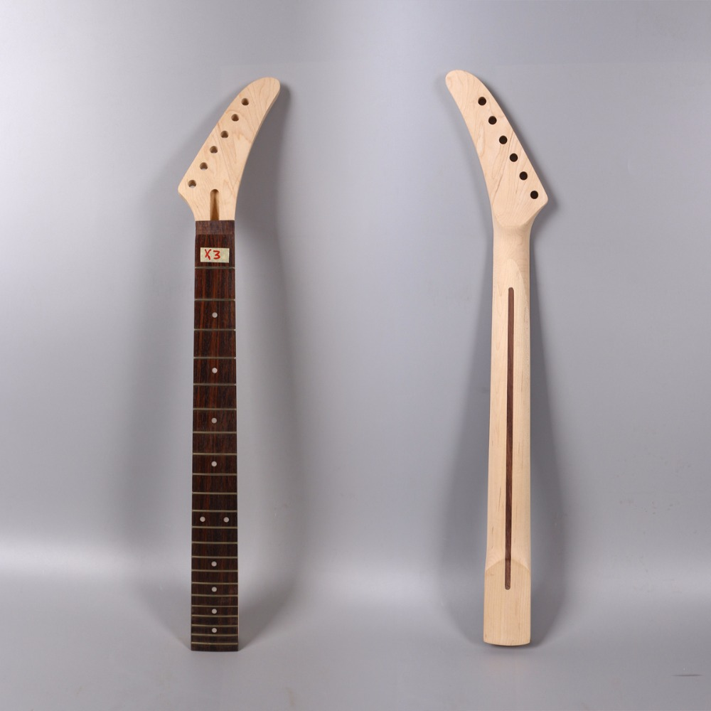 electric guitar neck 24.75 inch 22 fret maple banana headstock rosewood fingerboard right hand maple guitar neck for electric guitar neck rosewood fingerboard 22 fret white dots acurated heel