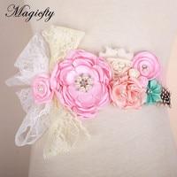 Pink Satin Flower Sash Belt Bridesmaid Accessory Photo Prop Baby Girl Shower Lace Flower Belt Bridal