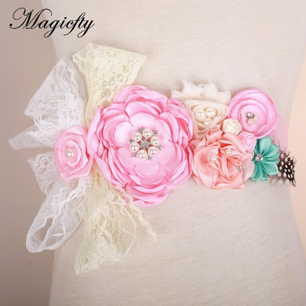 Pink satin Flower Sash   Belt   Bridesmaid Accessory Photo Prop Baby girl Shower lace Flower   Belt   Bridal Wedding Accessories