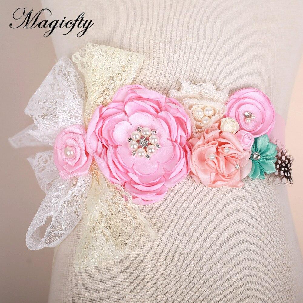 Aliexpress.com: Comprar Satén Rosa flor cinturón faja dama accesorio ...
