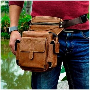 "Hot Sale Crazy Horse Real Leather Design men vintage Small Belt Messenger Bag Waist Pack Drop Leg Bag 8"" Pad Pouch 913-5"