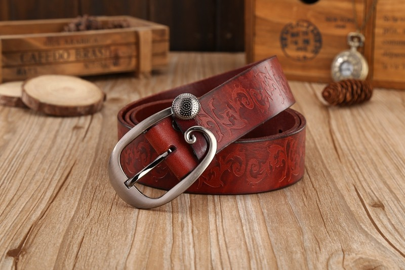 Raycoon Blue Thin Belts for Women jeans Cow Genuine leather belt woman Second layer cowhide Fashion Pin buckle strap female