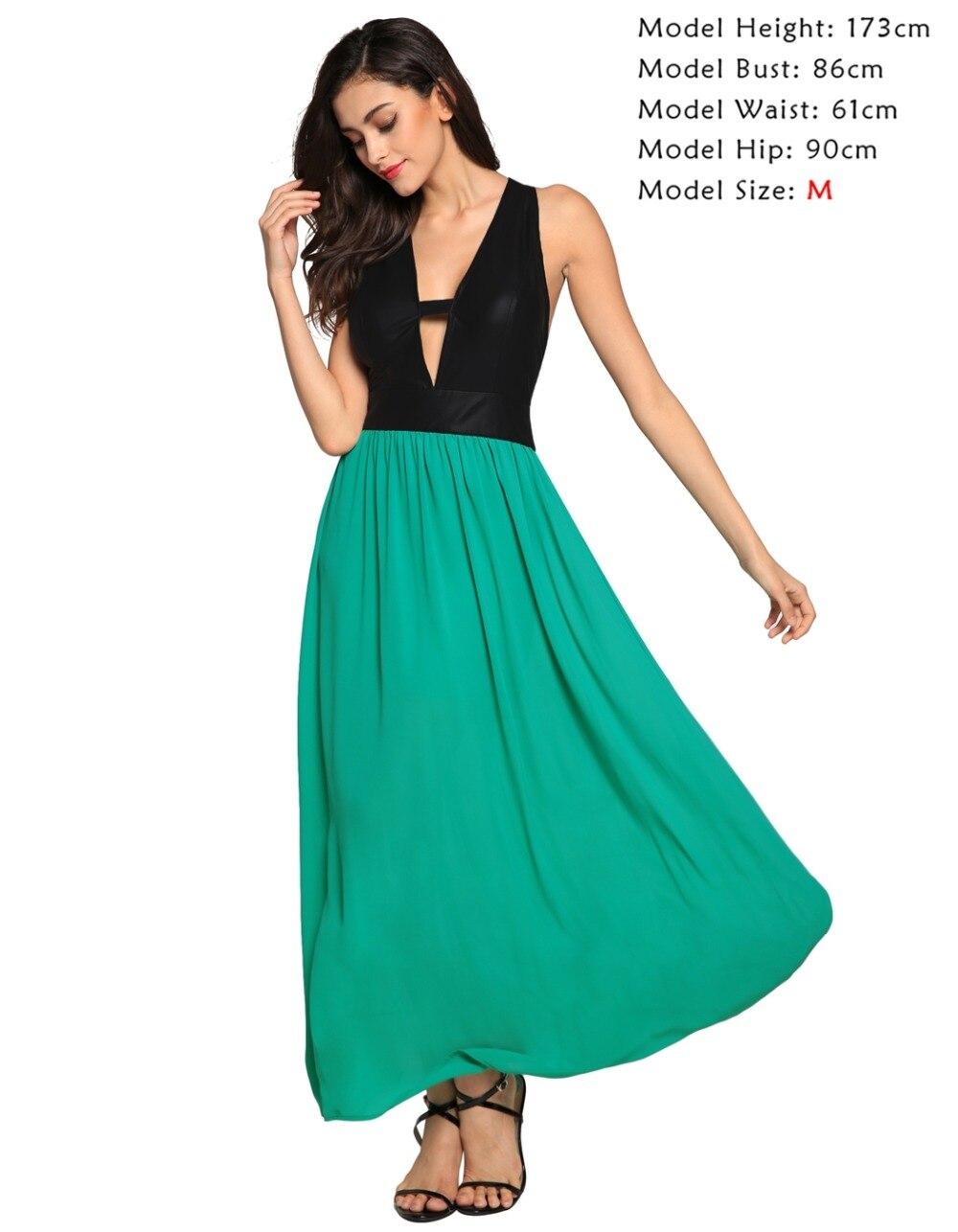 Finejo Women Sexy Club Dress 2016 Green Patchwork Deep V neck ...