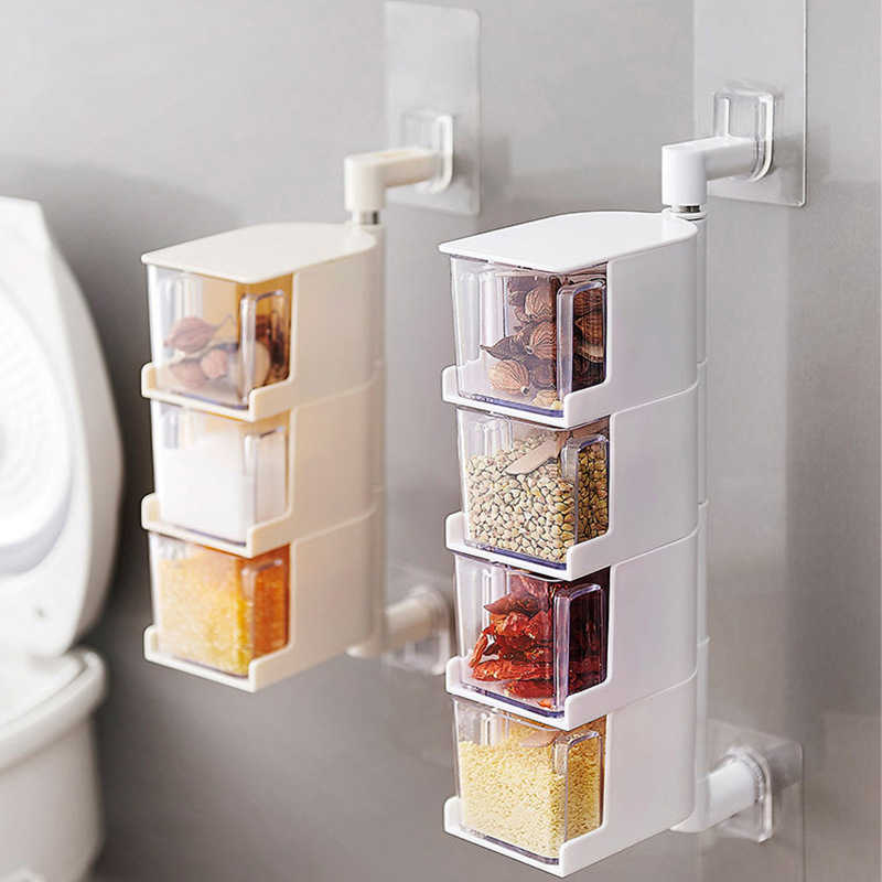 Wall-Mounted Rotating Seasoning Box Salt And Pepper Spice Condiment Containers Organizer Storage Rack Kitchen Plastic Container