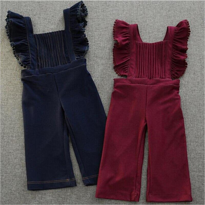 2017 primavera nueva moda Otoño volantes suave Jean suspender pantalones para niñas princesa bebé sólido pantalones 3-8 y ropa para niñas pequeñas