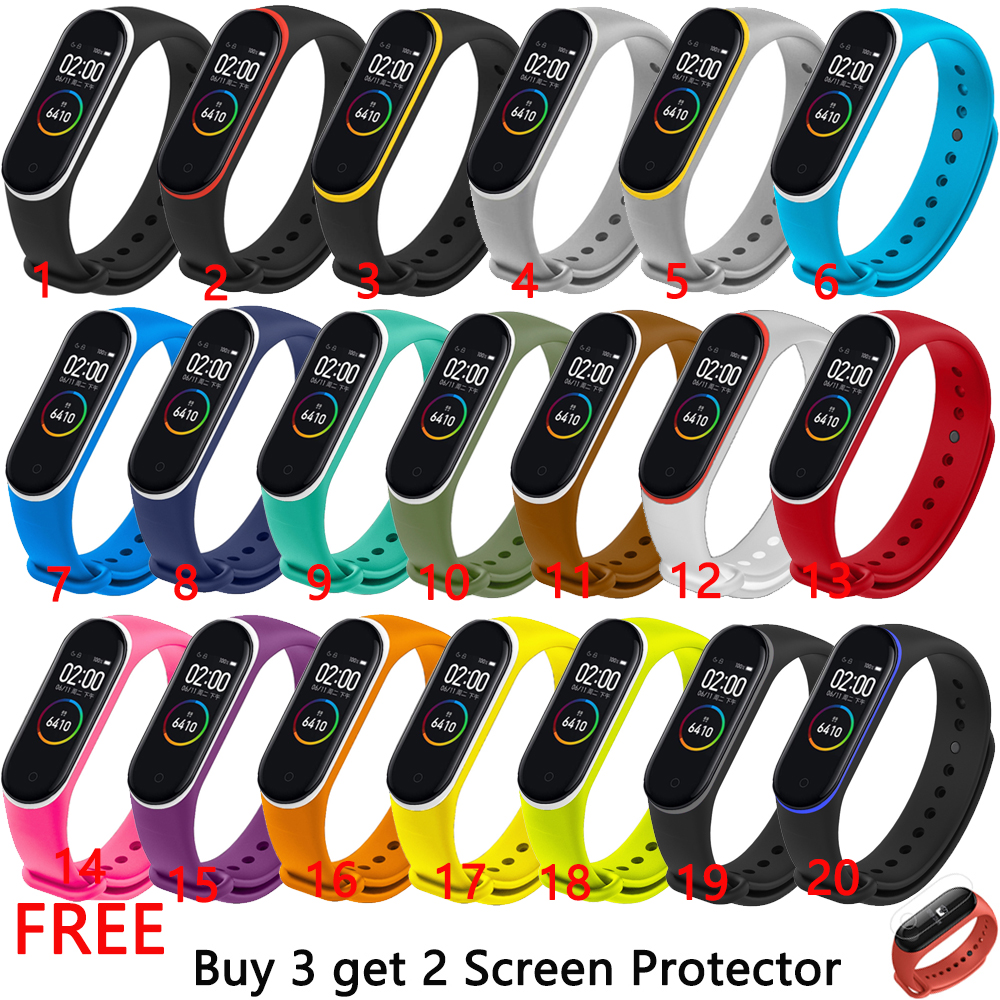 Colorful Silicone Watch Band Strap For Xiaomi Mi Band 4 Bracelet Watch Double Color Replacement Wrist Band Strap For Mi Band 4