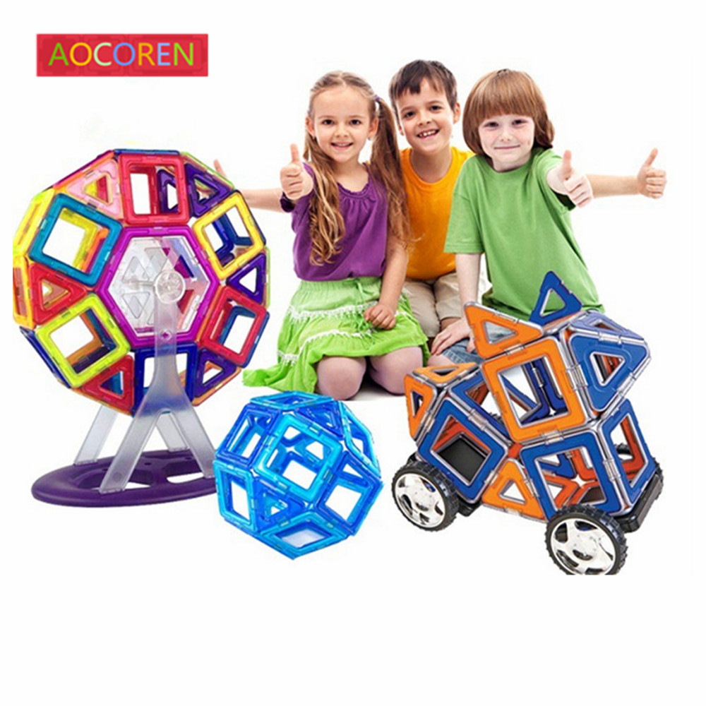 Aocoren font b Kids b font Toys 90PCS Magformers Bricks Educational Magnetic Designer Toy Square Triangle