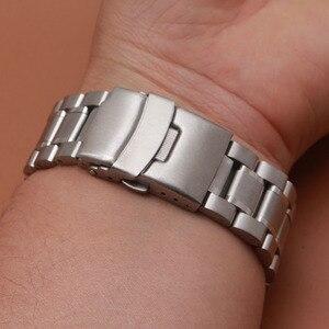 Image 3 - 18มม.20มม.22มม.24มม.สแตนเลสสตีลสร้อยข้อมือนาฬิกาข้อมือนาฬิกาผู้ชายนาฬิกาสายคล้องคอปลายโค้งความปลอดภัยClasp