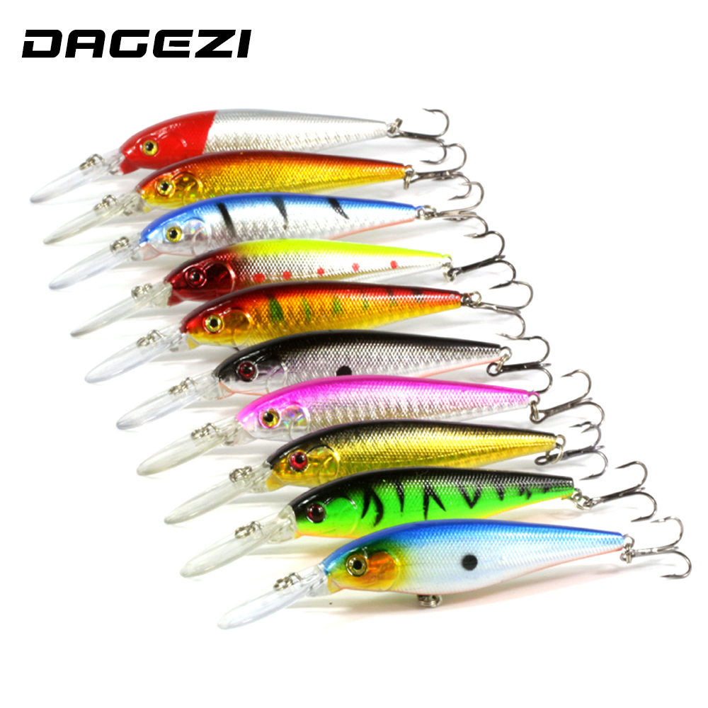 DAGEZI 10 pcs/lot Fishing Lure 0.5-1.5M Deep swim  hard bait fish11CM 9G artificial baits minnow fishing wobbler japan pesca 1pcs 16 5cm 29g big minnow fishing lures deep sea bass lure artificial wobbler fish swim bait diving 3d eyes