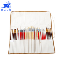 38Pcs Paint Brushes Set With Canvas Bag For Oil Acrylic Watercolor Painting Long Wooden Handle Multifunction