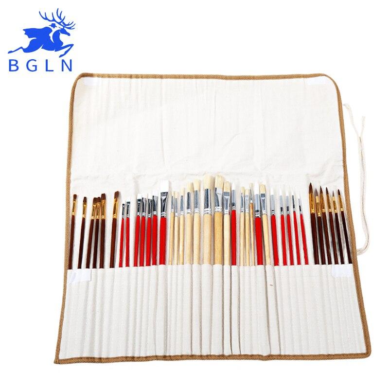 38 piezas pinceles con bolsa de lona para aceite acrílico acuarela pintura mango largo de madera multifunción cepillo de arte suministros