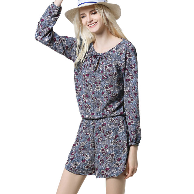 2c8c499a61f7 Fashion Summer Floral Print Short Overalls For Women Long Sleeve Beach  Jumpsuit Plus Size Causal Rompers