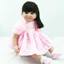 little girl Reborn Doll Soft Silicone 60cm Cloth Body Realistic Princess Baby Toy Ethnic
