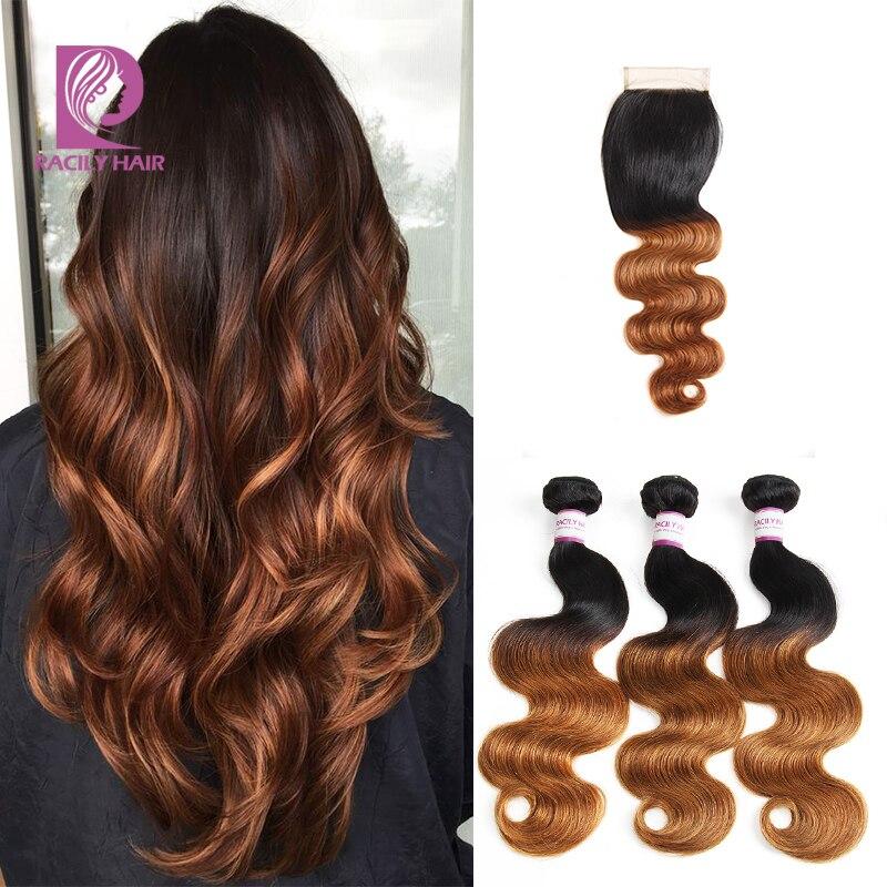 Racily Hair 1B 30 Brazilian Body Wave Bundles With Closure Remy Human Hair Bundles With Closure