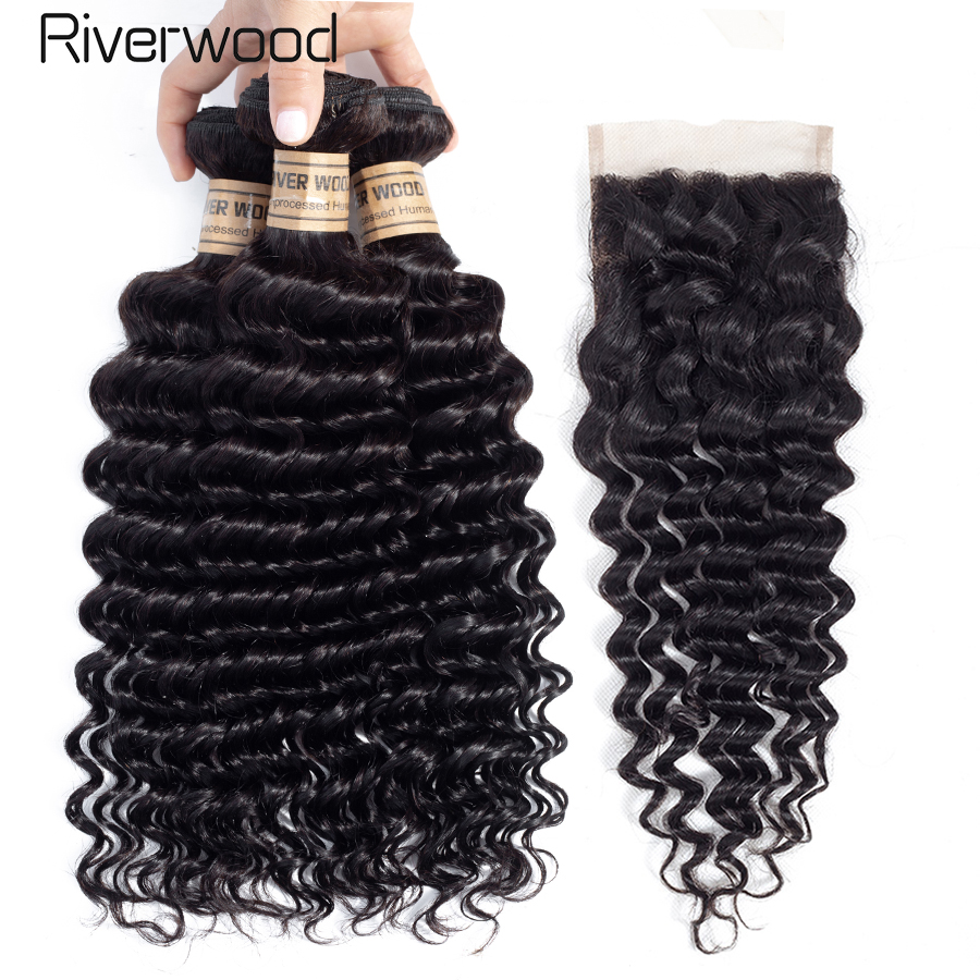 Deep Wave 3 Bundles With Closure Malaysian Non Remy 100% Human Hair Weave Bundles With 4*4 Free Part Lace Closure Shipping Free