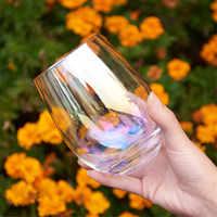 Luxury Lead-free Rainbow Glass Cup Breakfast Milk Tea Coffee Juice Wine Cup Crystal Transparent Glass Cup Office Household 1pcs
