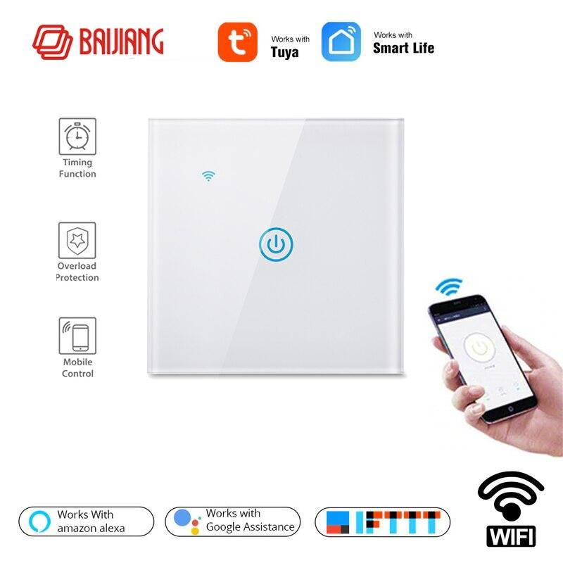 Padrão da ue vida inteligente 1 way casa sem fio wi fi interruptor de luz parede interruptor do painel toque, trabalho com o google casa amazon alexa