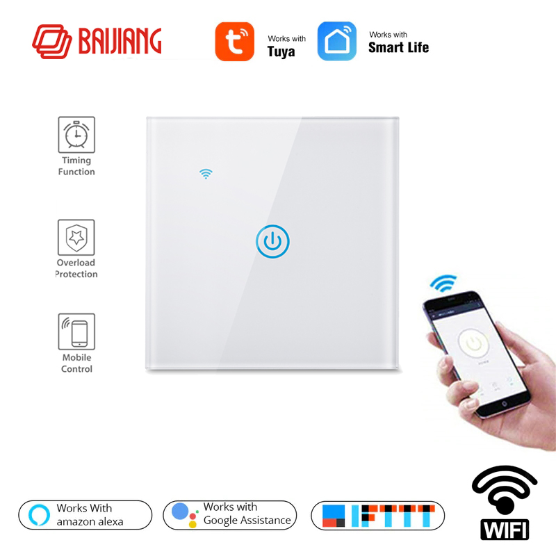 UE estándar Smart Life 1 forma de hogar inalámbrico WiFi pared luz interruptor táctil Panel interruptor, trabajo con Google Alexa de Amazon