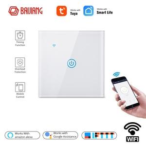 Image 2 - Wifi קיר מגע מתג האיחוד האירופי ניטראלי חוט הנדרש חכם אור מתג 1 2 3 כנופיית 220V חכם חיים בית תמיכה Alexa Google בית