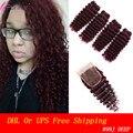 Hot Sale Burgundy Red Deep Curly Human Hair With Closure Brazilian Curly Virgin Hair 99J 5pcs/Lot Red Human Hair Bundles