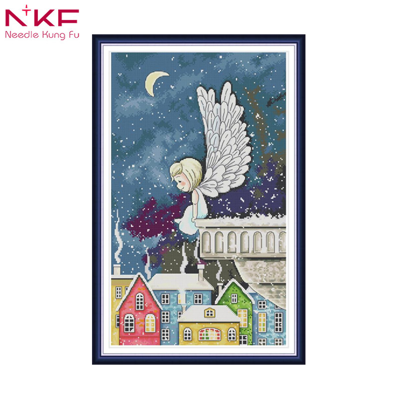 New Needlework,DIY Embroidery Counted Cross Stitch Kits Needlework - Crafts 11 14CT DMC Color DIY Arts Handmade Decor