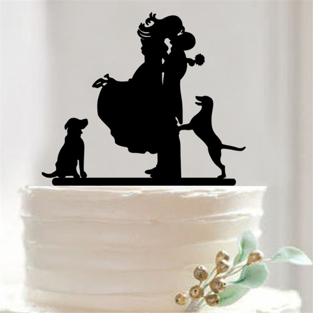 Bride Groom And Two Dog Design Party Decoration Baby Shower Birthday Wedding Cake