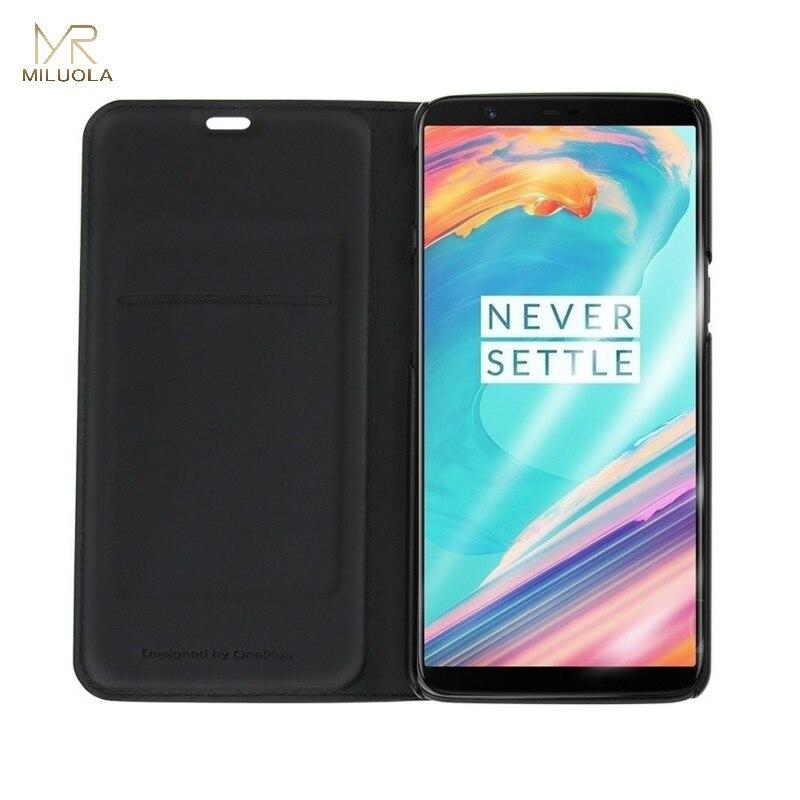 MLR Oneplus 6 PU Cuir Flip Cas Smart Cover avec le Sommeil Wake Up Fente Pour Carte pour OnePlus6/5/5 T Funda