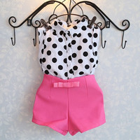 MUQGEW New Fashion Girl Dress Child Kid Polka Dot T Shirt Tops Pink Bowknot Pants Shorts