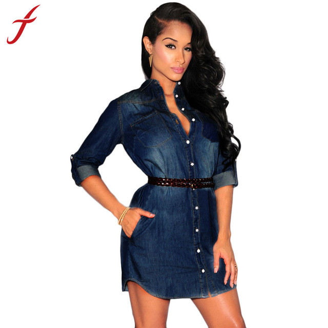 3bcd4d3c5766 Feitong New vintage fashion women ladies Sexy dresses Dark Blue Cowboy  denim long sleeve Mini dress