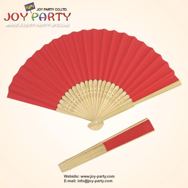 10 teile / los 21 cm Rote farbe Papier Hand Fan Hochzeit Weihnachtsfest Dekoration Förderung Favor