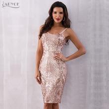 Summer Celebrity Party Dress  Women Midi Sequin Backless Deep V Neck Spaghetti Strap Club Dresses