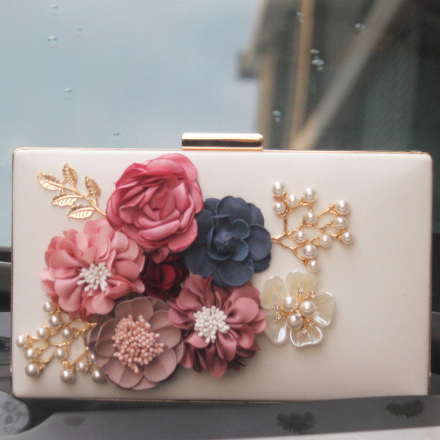 Fashion Pu Women Handbags Printed Leather Floral Flower Evening Bags Vintage Small Wedding Party Chain Shoulder Clutches Bag
