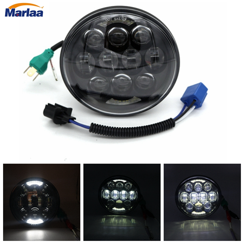 80W 5.75 5-3/4 Inch Round LED Projection Daymaker Headlight for Harley Davidson Dyna Motorcycles Light H4 H13 Led Headlight new plastic male cock lock penis ring electric shock chastity device cage cb6000 bondage restraint sm electro sex toy for men