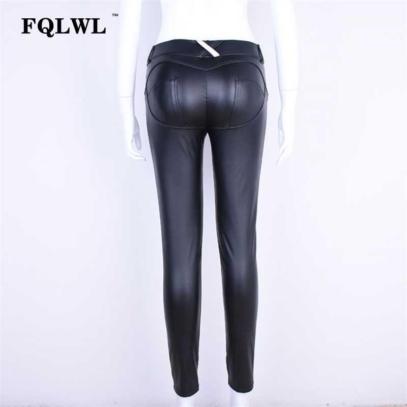 e81a7730 ... FQLWL Faux Pu Leather Leggings Women Leggins High Waist Sexy Black  Leggings Push Up Jegging Warm