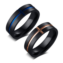 Recommend Simple Stainless Steel Ring Men Jewelry Rose Gold Color Rings Wholesale 6mm Blue Color Ring Size 7 8 9 10 11 12 fashion stainless steel silver color men spinner ring punk jewelry personality male rings size 7 8 9 10 11 12