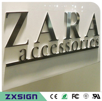 Factoy Outlet Outdoor Metal Sign Brushed Stainless Steel Sign Mirror Finsihed Metal Letter