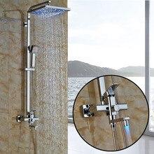Chrome Finish Bath Shower Mixer Faucet LED Light 12 Big Rainfall Shower Head Swivel Tub Spout