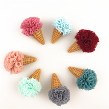40PCs/Lot Kawaii 3D Floral Chiffon Balls Decorated Ice Cream button Patch Sticker Hair Jewelry Ornament Accessories Craft