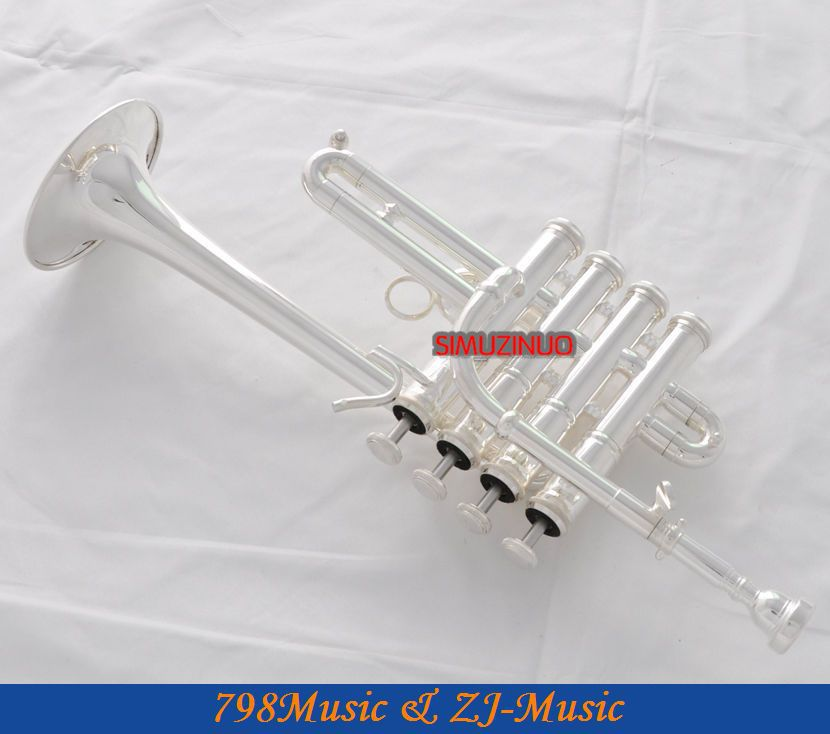 Professional Silver Plated Piccolo Trumpet Bb / A sarvi 4 Monel-venttiilit kotelolla