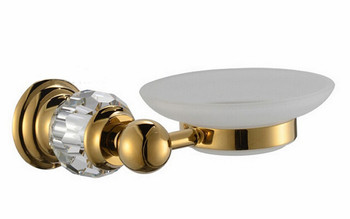 Free shipping gold finish Modern Luxurious crystal  design soap dish holder