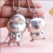 Бесплатная доставка бронзовый медведь мультфильм свинья карандаш небольшой новый Дизайн кварц Подвеска Цепочки и ожерелья карманные часы подарок Для детей