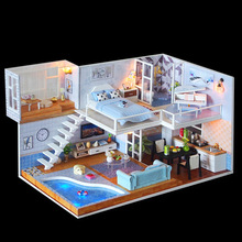 Doll House Furniture Diy Miniature 3D Wooden Dollhouse Assemble The Model By Hand Education Toys For Children Birthday Gifts J23