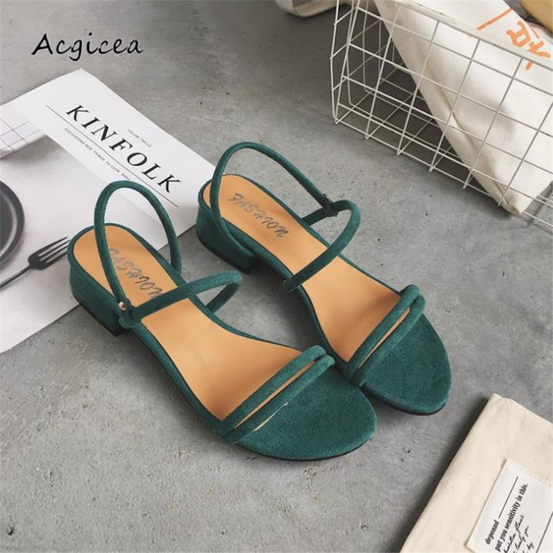 цена на 2018 new Female sandals Low-heeled sandals open-toed suede rough with Ankle Strap Square heel sandals mujer s135-1