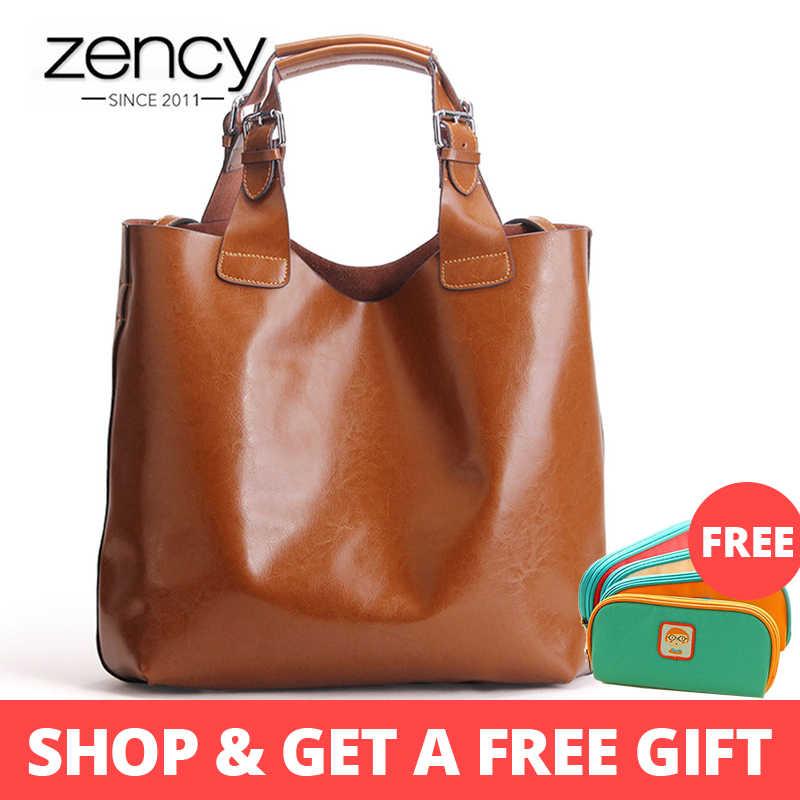 Zency 100% натуральная кожа ретро коричневая Женская сумка женская большая сумка тоут ноутбук Классическая кофе женская сумка для шопинга на плечо кошелек