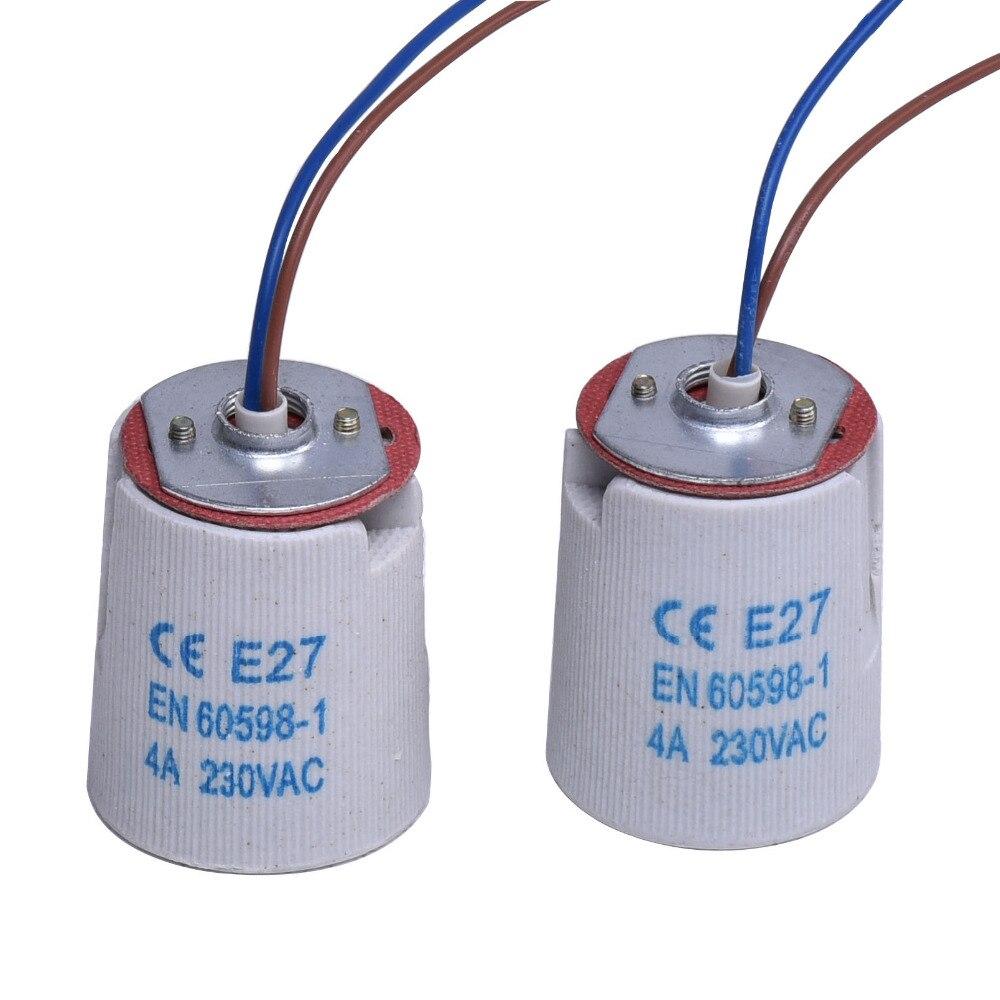 10PCS / Lot E27 Základny lampy Keramická patice žárovky s drátovým kabelem Vysokoteplotní držák lampy Lustrová základna Dobrá kvalita