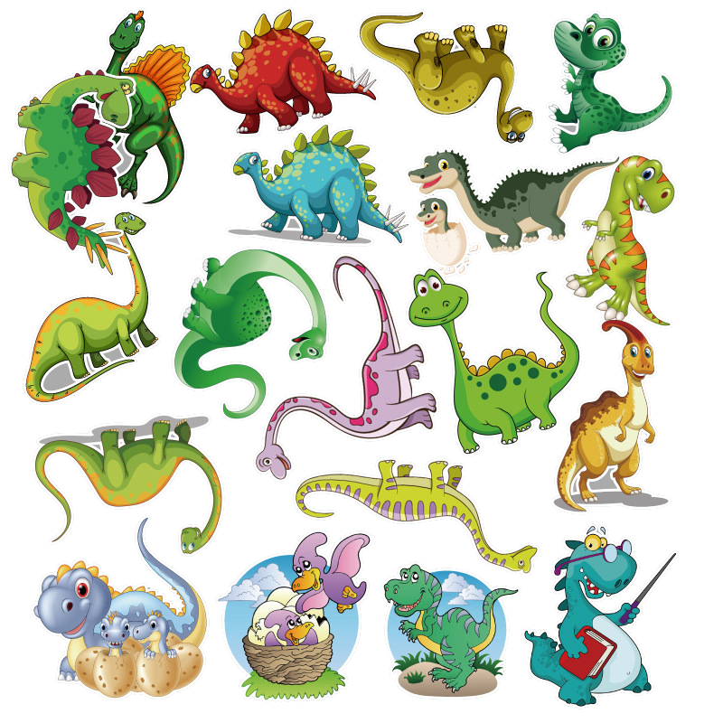50Pcs Sticker Child Cartoon anime Dinosaur Series Stickers For Notebook PC Skateboard Bicycle Car Moto DIY Waterproof Toy for children  (2)