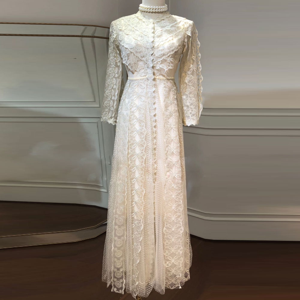 Red RoosaRosee Runway 2019 Women Summer Hot Golden Embroidery Gauze Sexy Long Maxi Holiday Party Dress