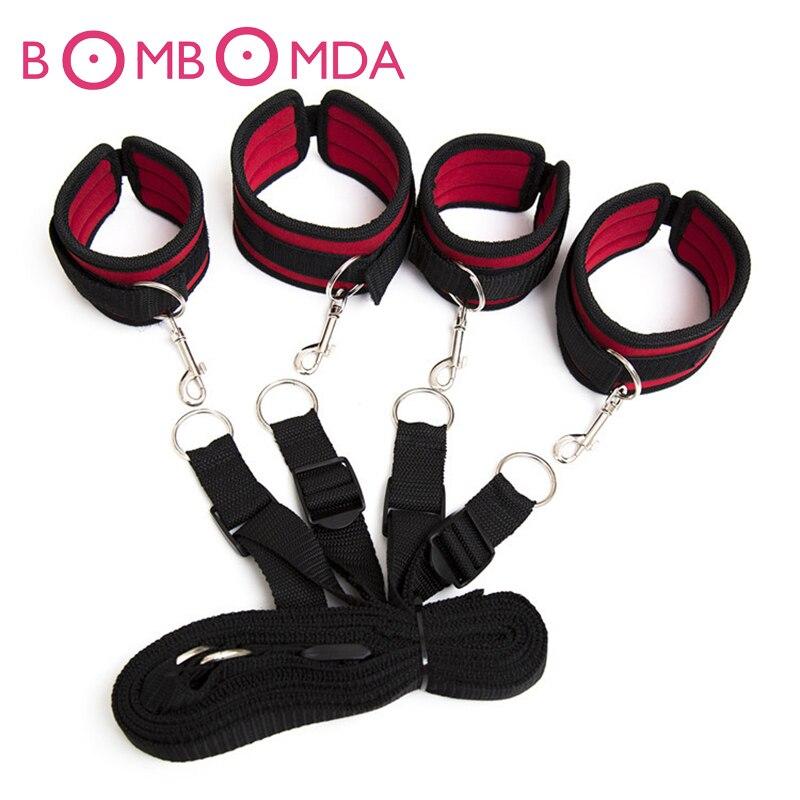 Provocação Sob Bed Restraint Bondage amarrado De Nylon De Veludo Mão Punhos & Algemas de tornozelo Definir Produtos Do Sexo Brinquedos Do Sexo Para Casais Jogos Sensuais O3