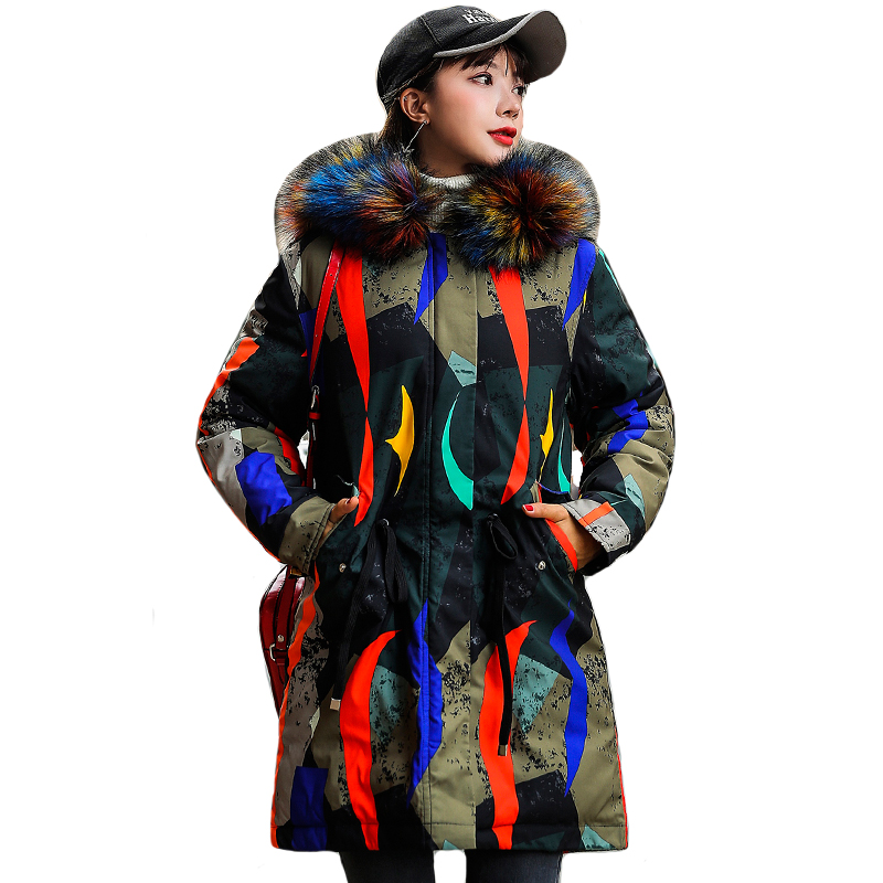 2019 New Design Winter Women Jacket With Fur Hooded Printing Female Warm   Down     Coat   Long Padded parka Mujer Invierno